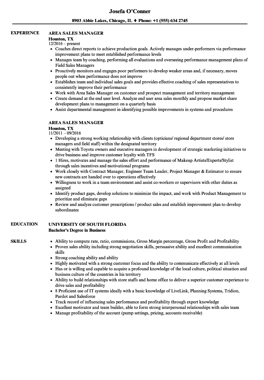 Area Sales Manager Resume Samples | Velvet Jobs