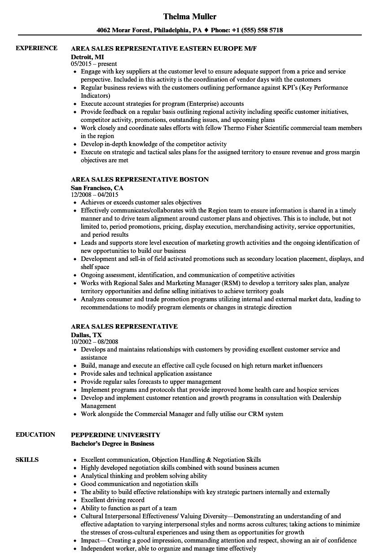 area sales representative resume samples