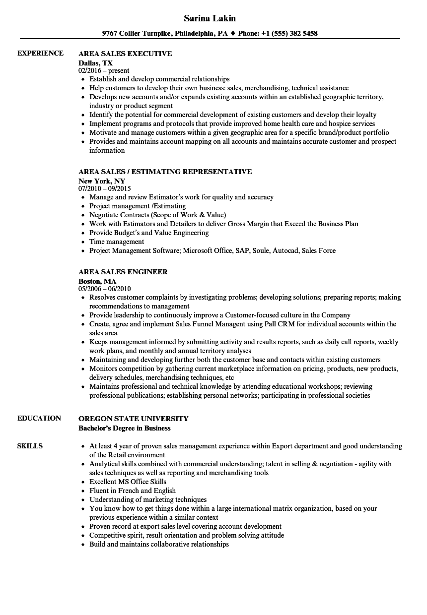 Download Area Sales Resume Sample As Image File