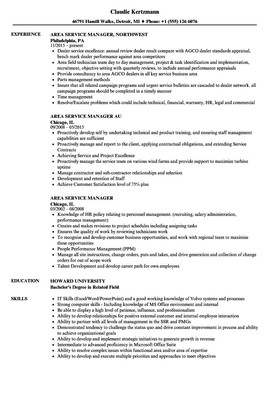 Area Service Manager Resume Samples Velvet Jobs