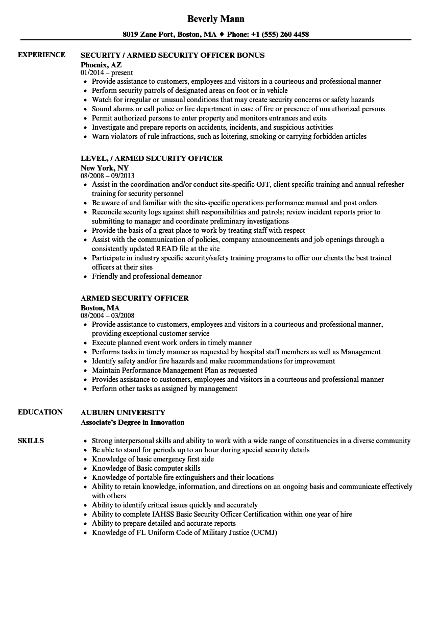 download armed security officer resume sample as image file - Security Guard Resume Example