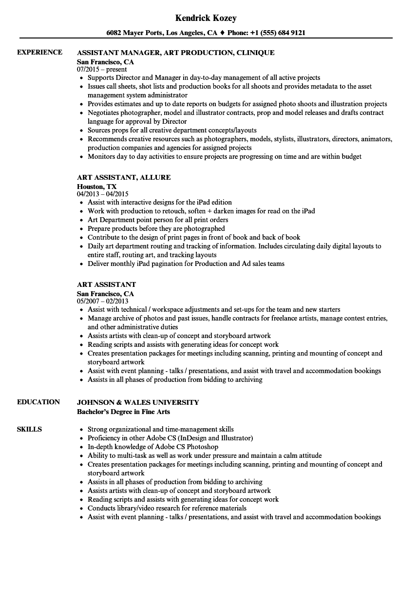 Art Assistant Resume Samples Velvet Jobs