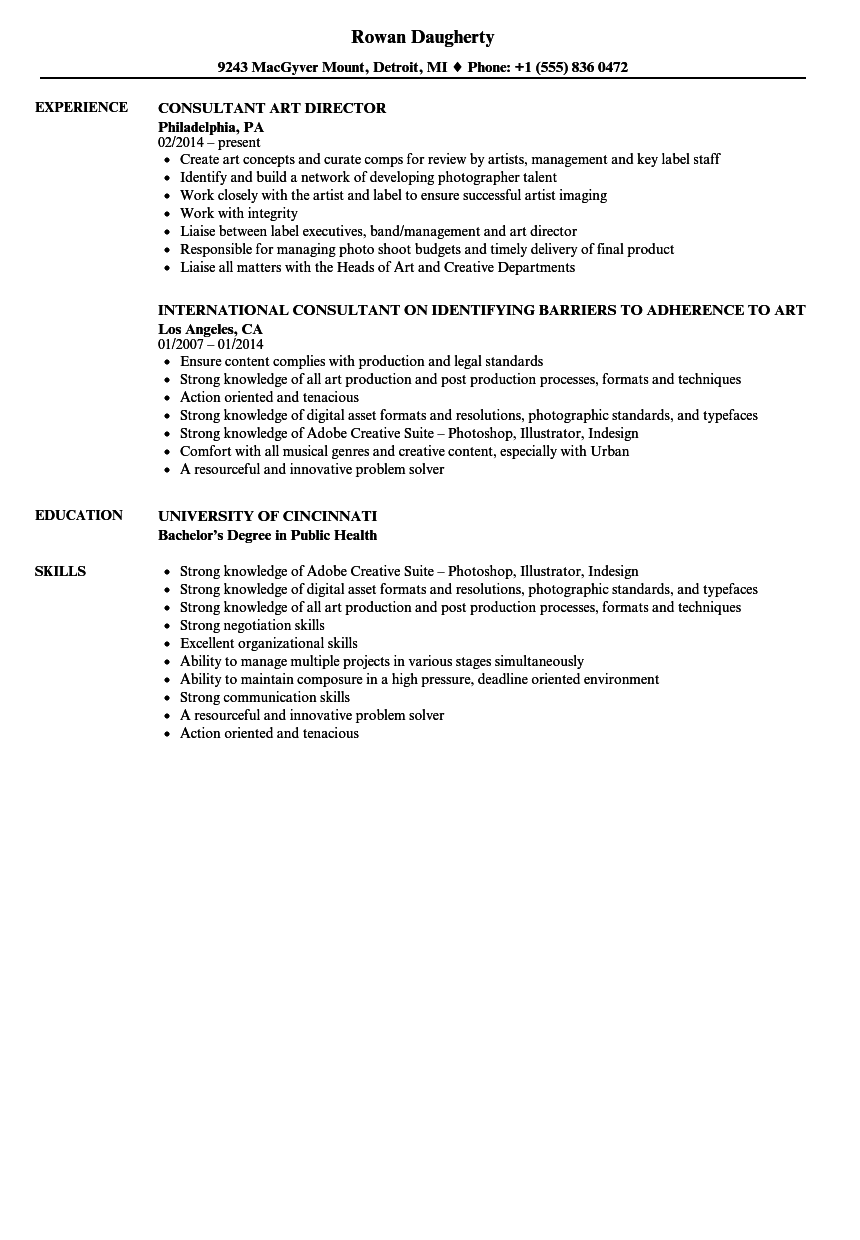 Art Consultant Resume Samples Velvet Jobs