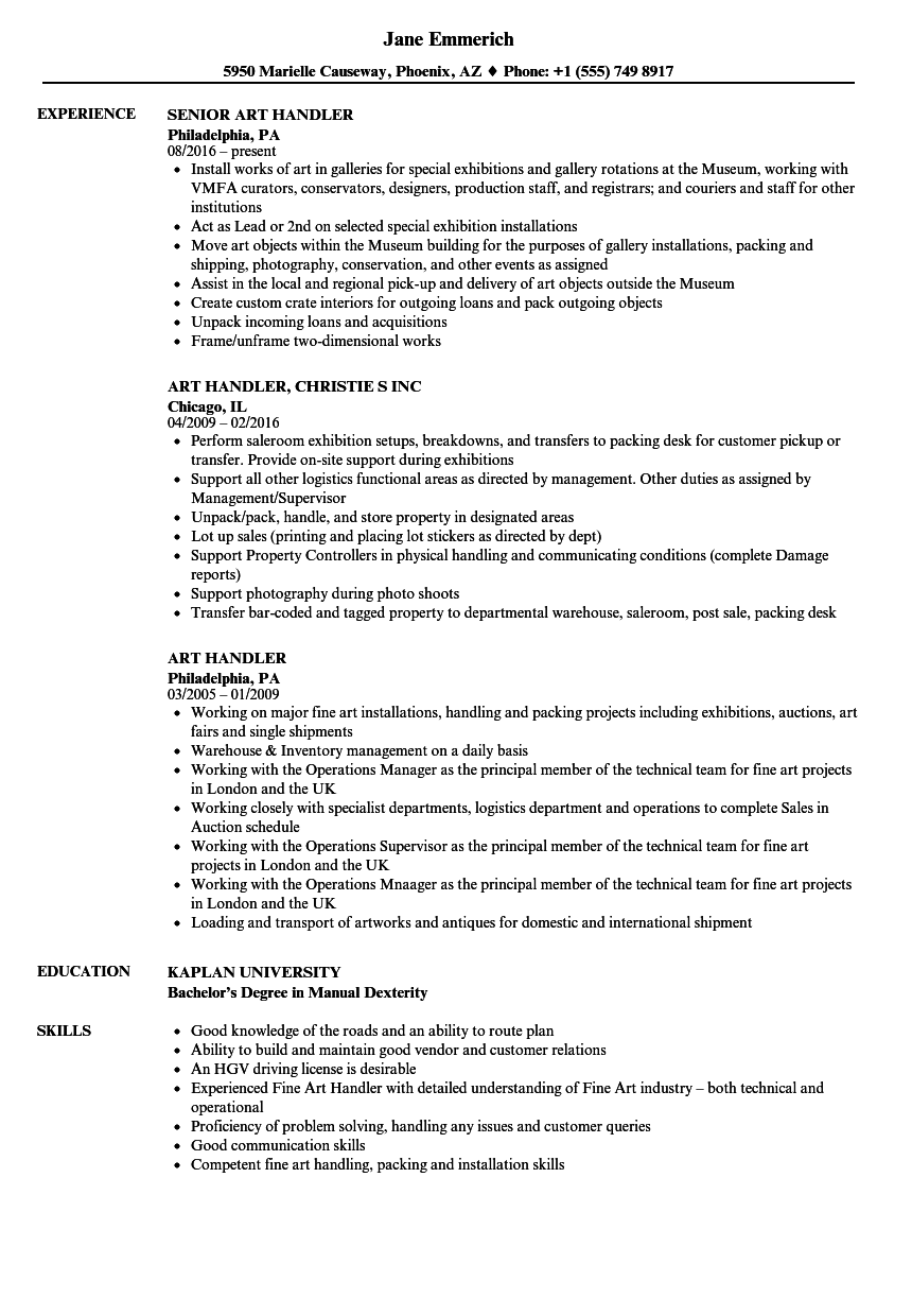 art handler resume samples
