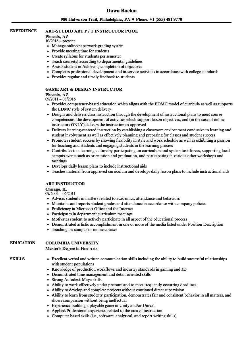 art instructor resume samples velvet jobs