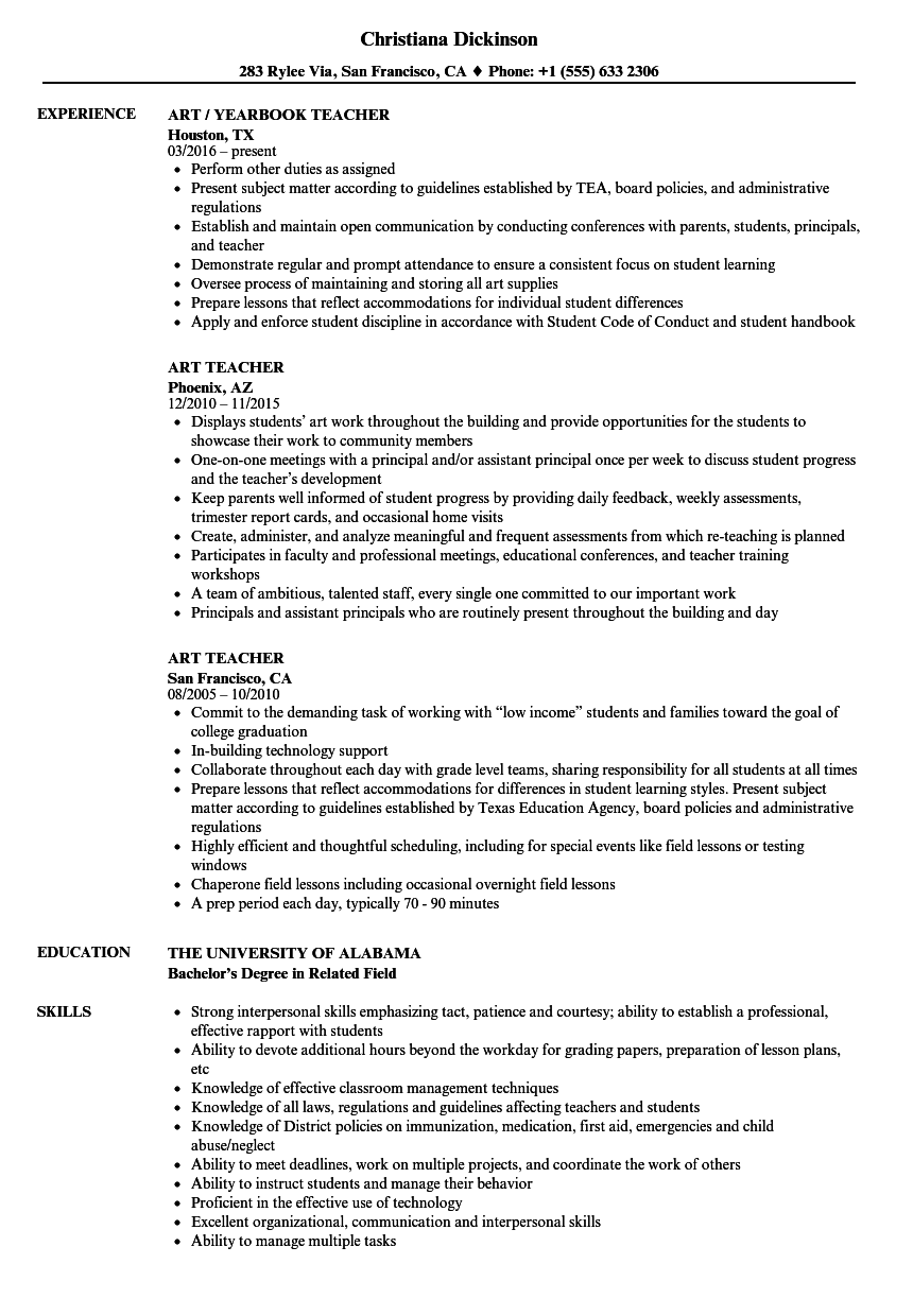 art teacher resume samples velvet jobs