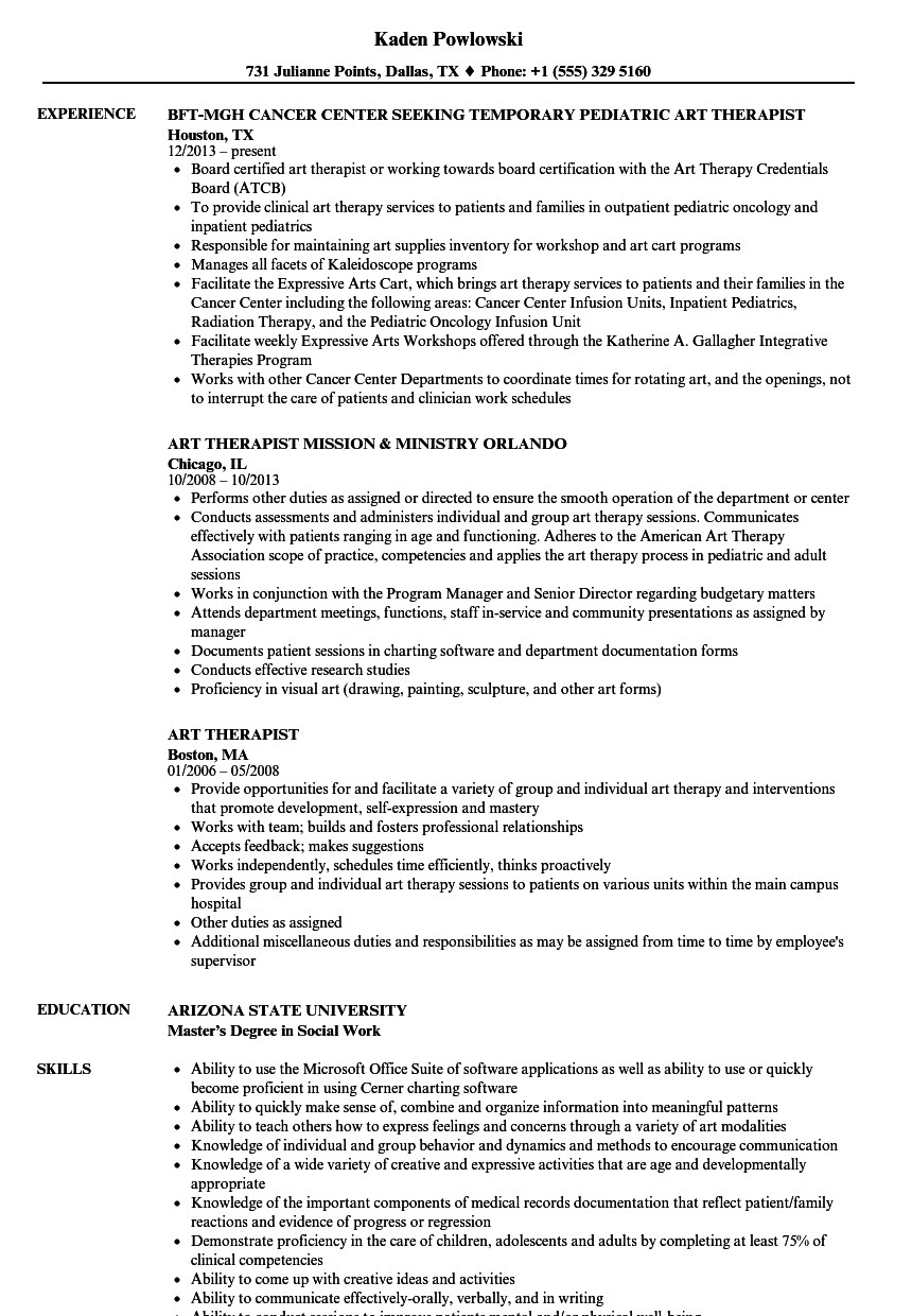 art therapist resume samples velvet jobs