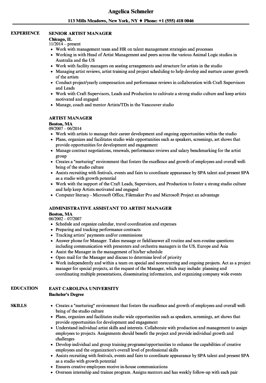 artist manager resume samples
