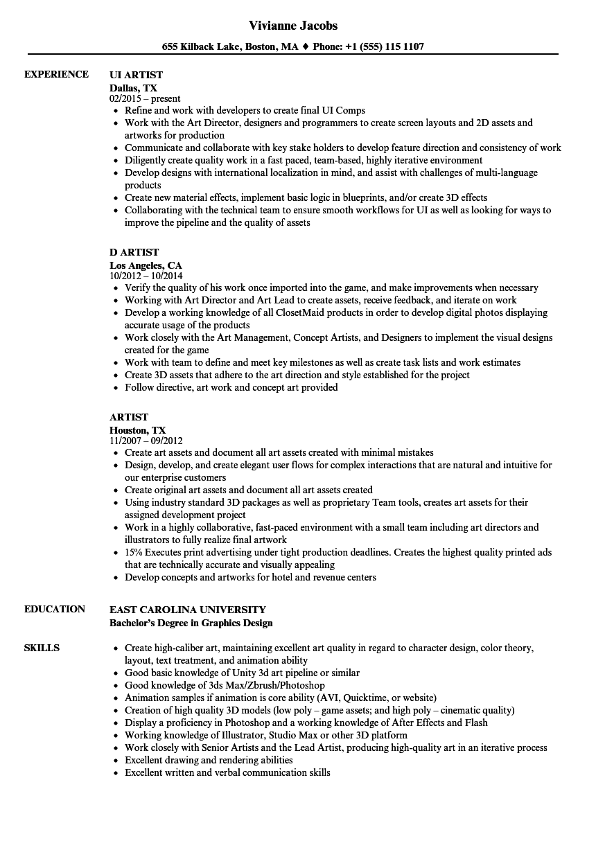 Artist Resume Samples Velvet Jobs