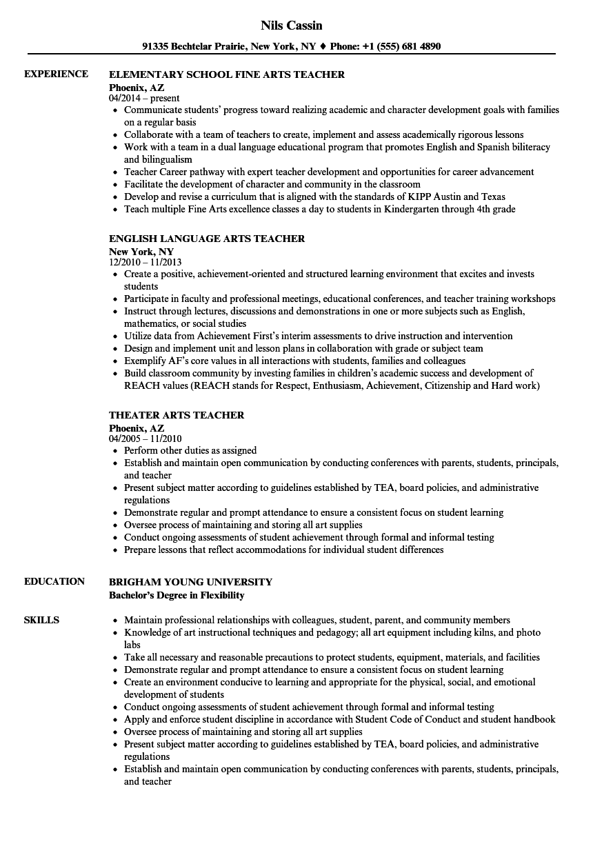 Arts Teacher Resume Samples | Velvet Jobs