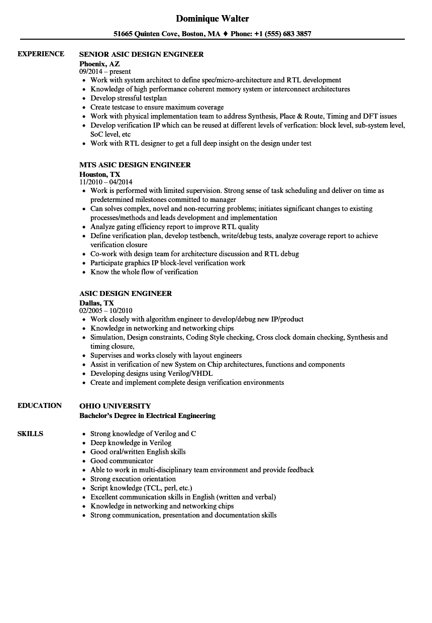 Download Asic Design Engineer Resume Sample As Image File