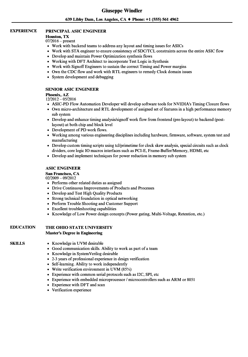 asic engineer resume samples