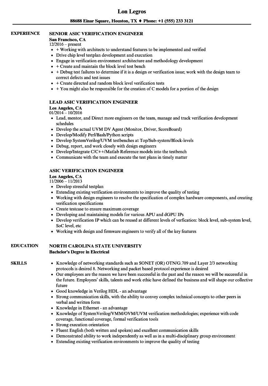 asic verification engineer resume samples