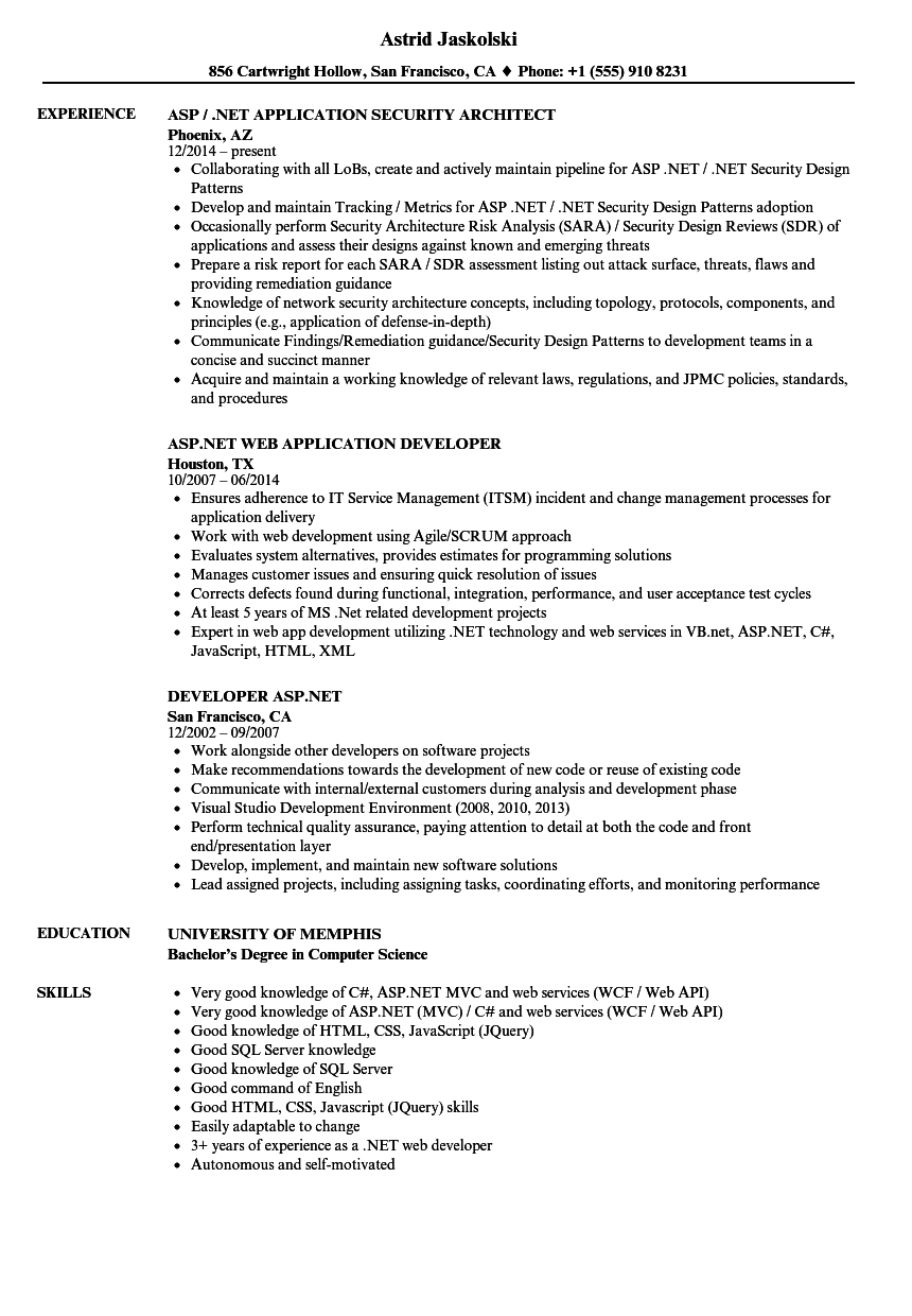 Asp Net Resume Samples Velvet Jobs