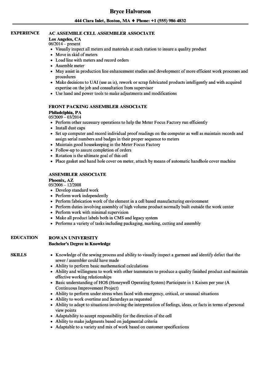 assembler associate resume samples