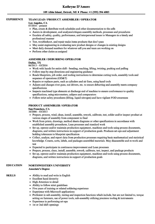 assembler operator resume samples