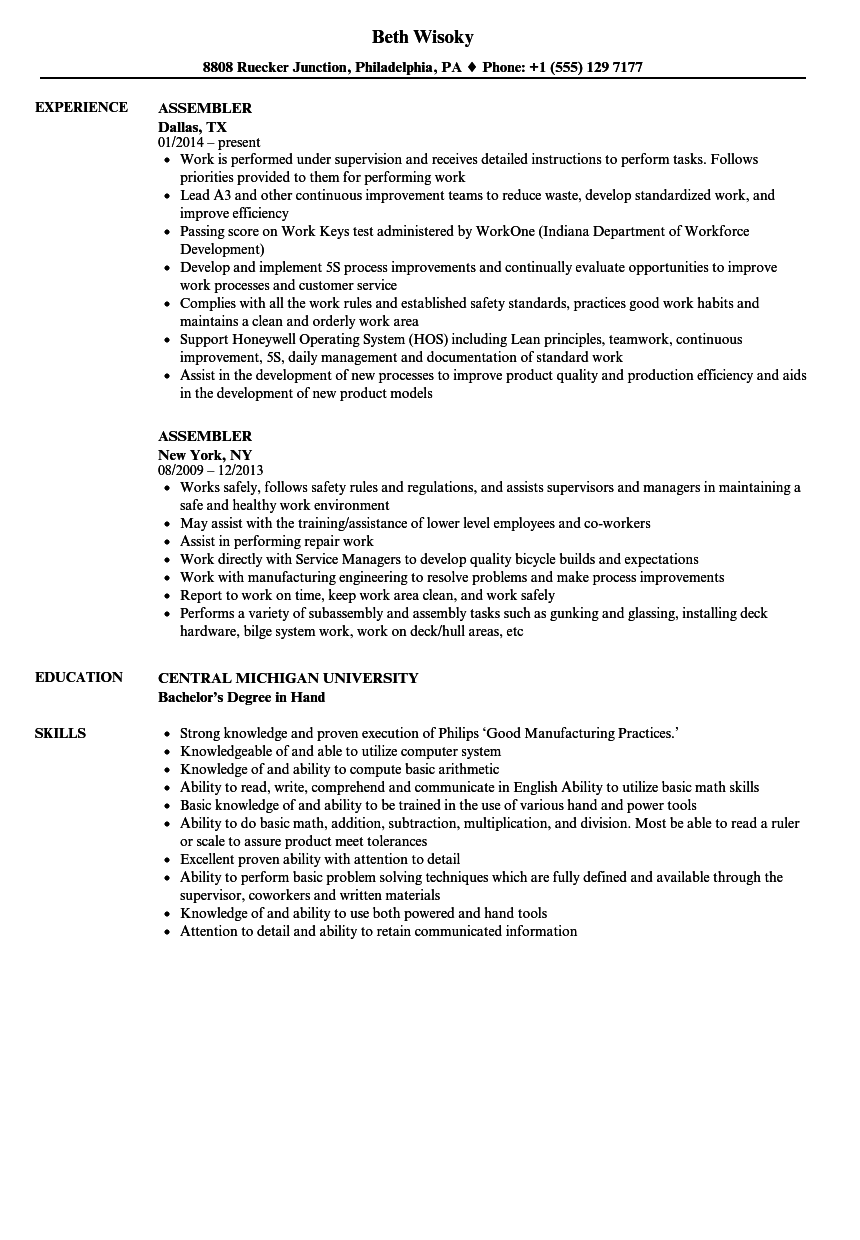 Assembler Resume Samples Velvet Jobs