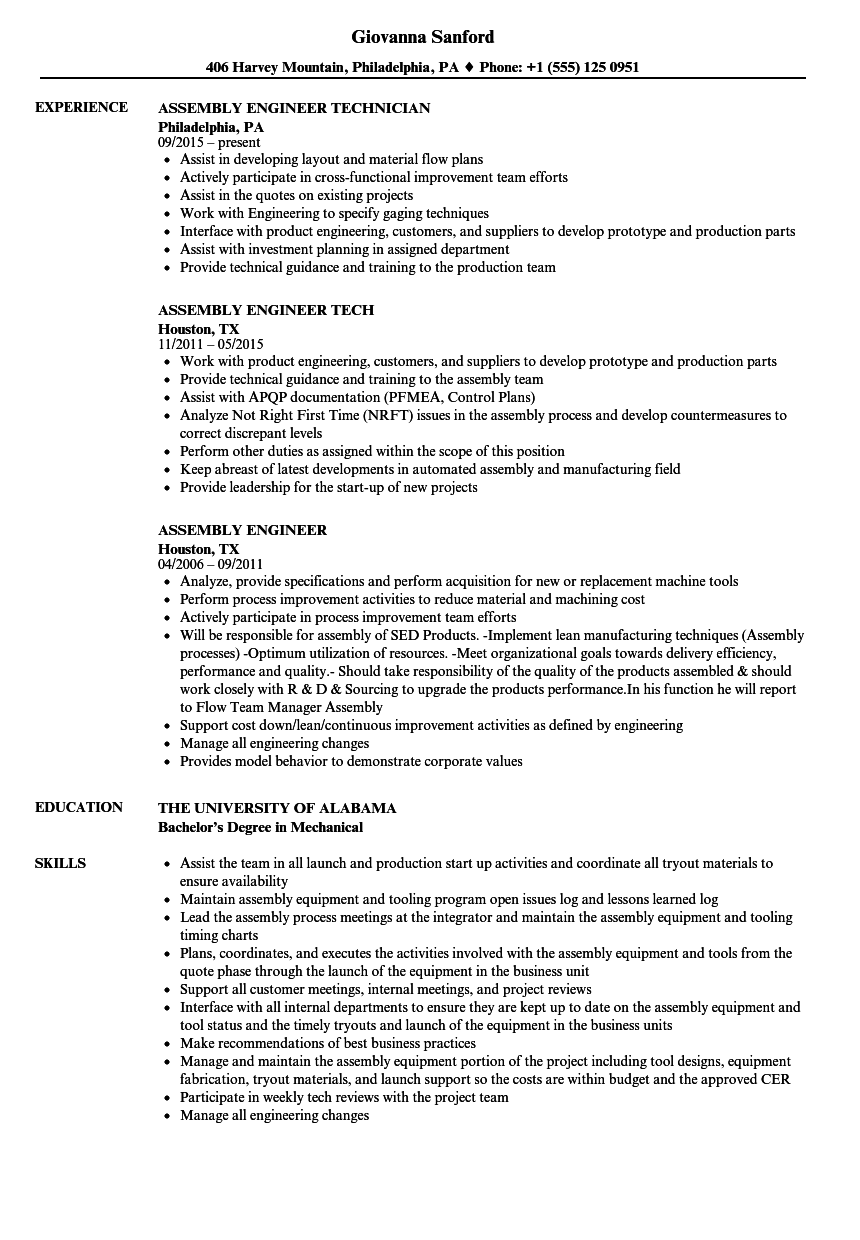 Assembly Engineer Resume Samples | Velvet Jobs