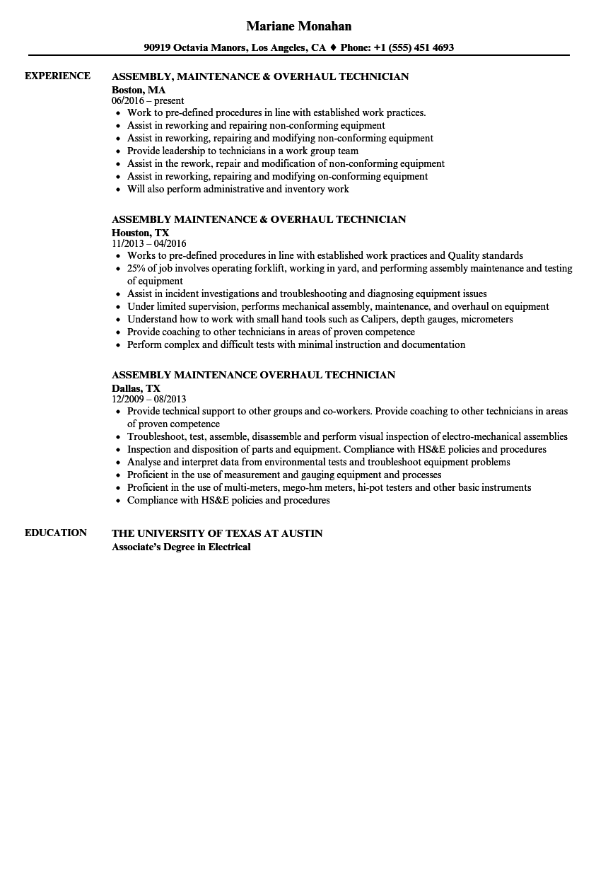 assembly  maintenance  u0026 overhaul technician resume