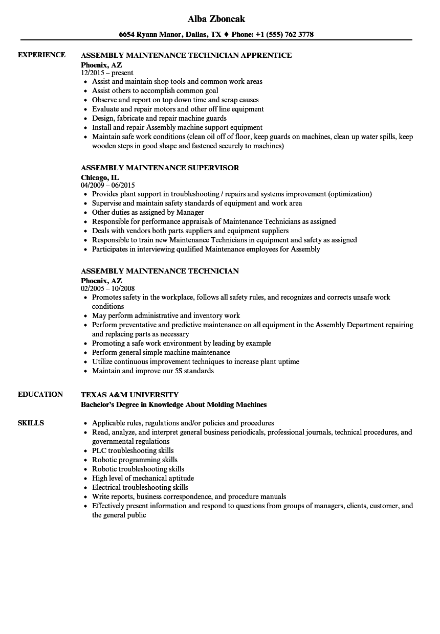 Assembly Maintenance Resume Samples | Velvet Jobs
