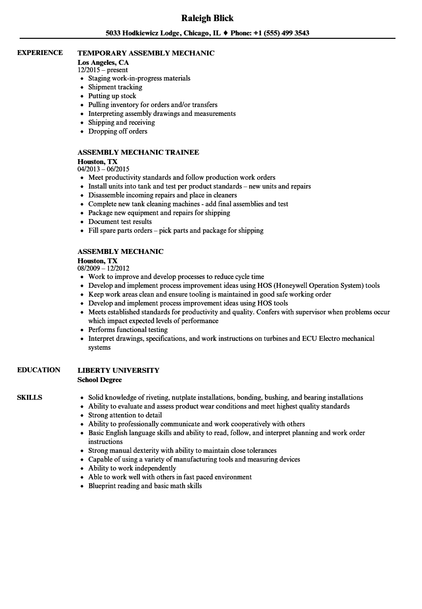 Download Assembly Mechanic Resume Sample As Image File  Mechanic Resume Examples