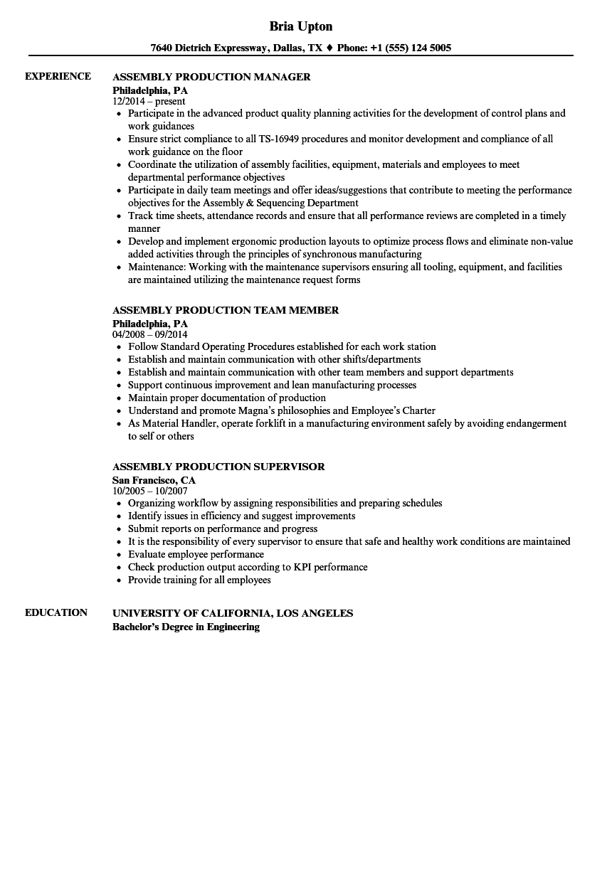 Download Assembly / Production Resume Sample As Image File  Production Resume Examples
