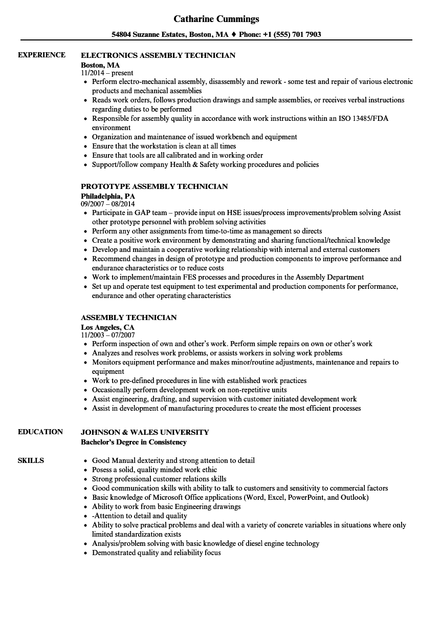 Assembly Technician Resume Samples | Velvet Jobs