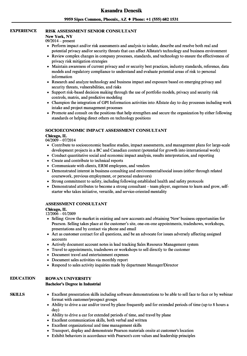 assessment consultant resume samples