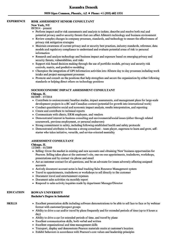 Assessment Consultant Resume Samples