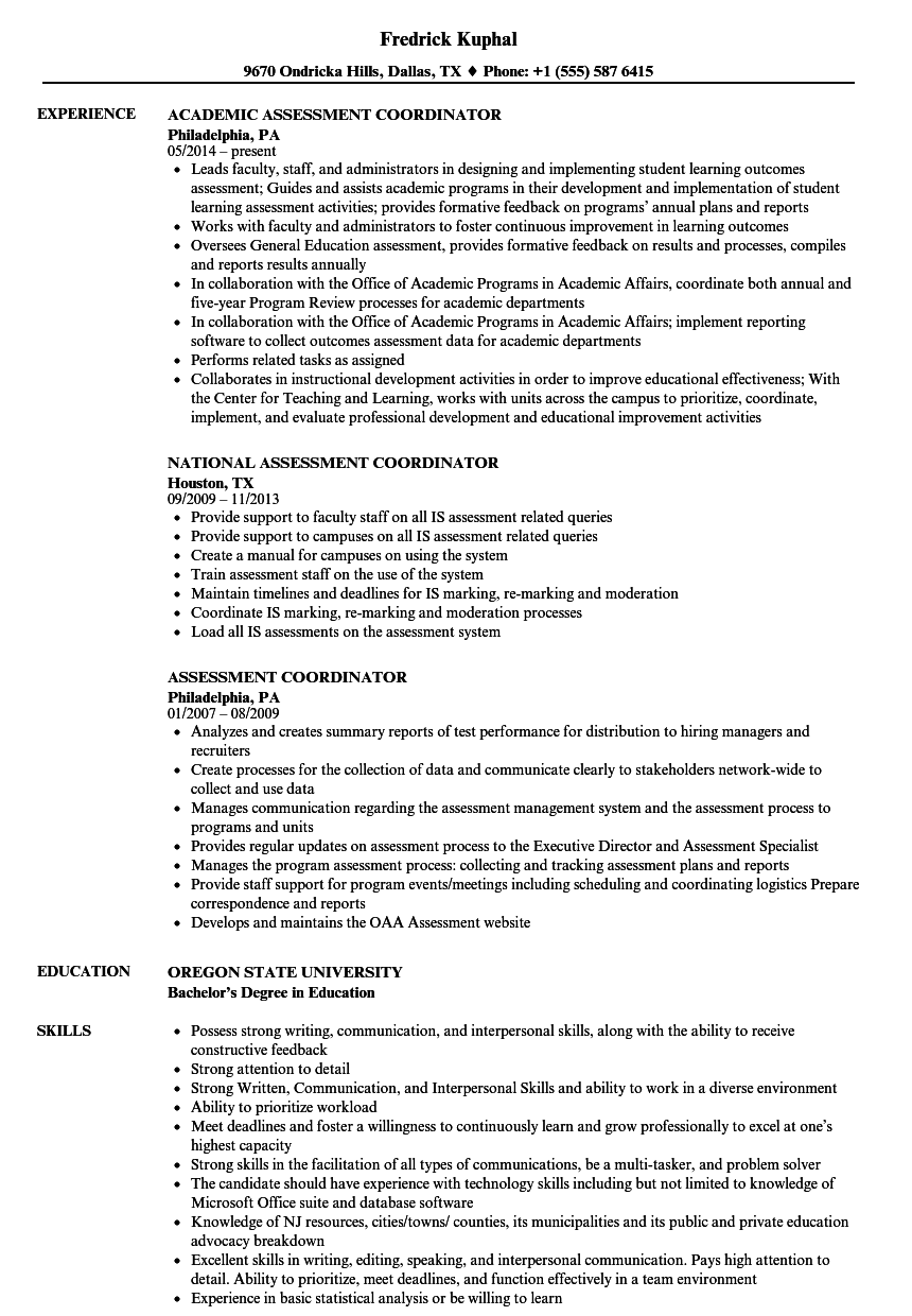 Assessment Coordinator Resume Samples Velvet Jobs