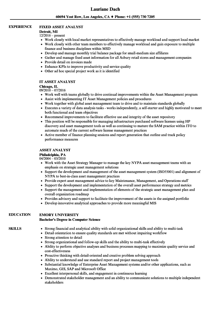 Asset Analyst Resume Samples | Velvet Jobs