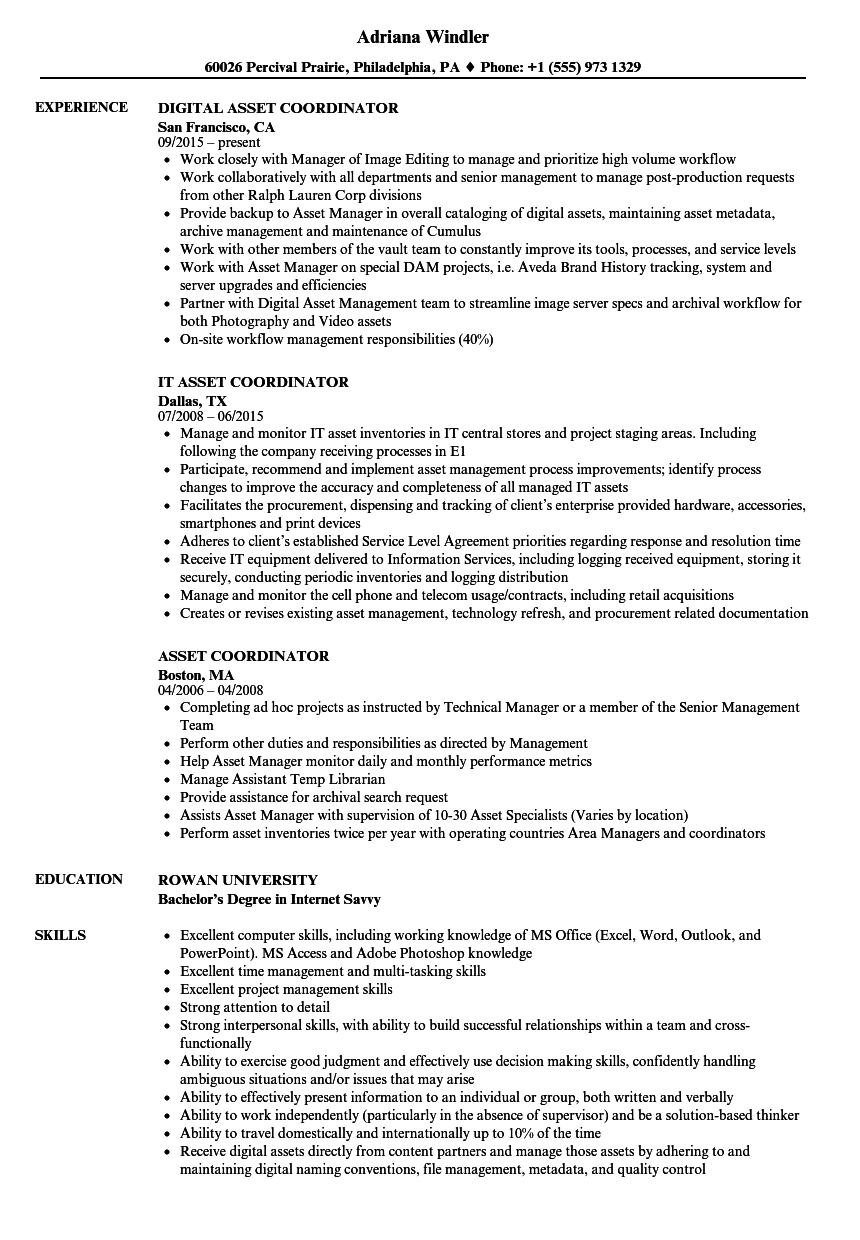 Download Asset Coordinator Resume Sample As Image File