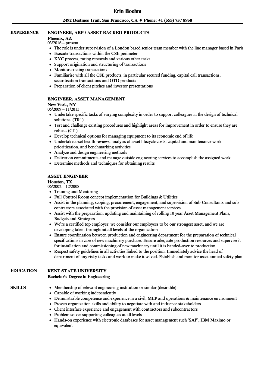 Asset Management Sample Projects For Resume