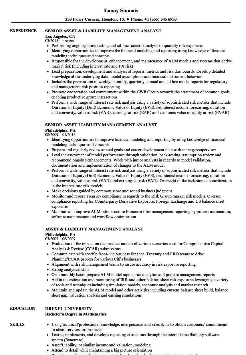 Asset Liability Analyst Resume Samples | Velvet Jobs