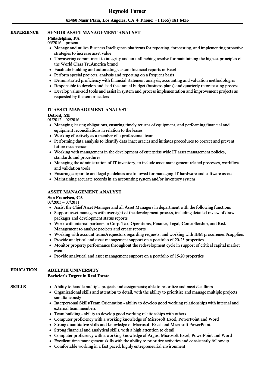 Asset Management Analyst Resume Samples | Velvet Jobs
