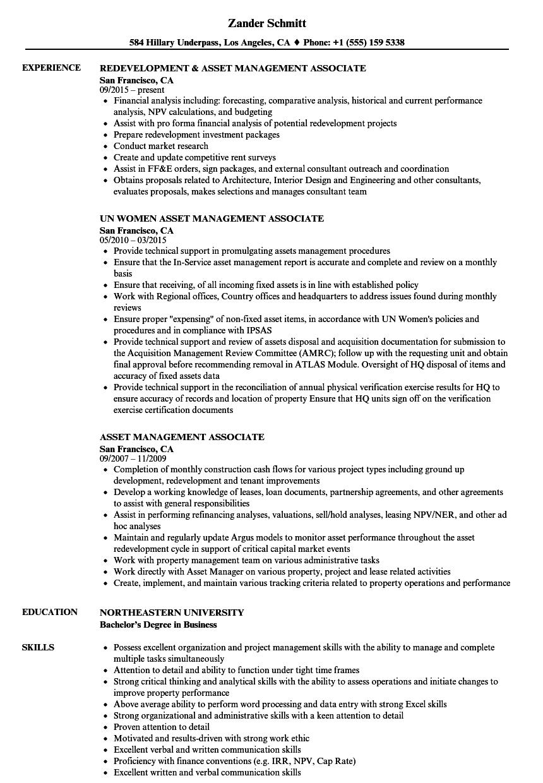 Asset Management Associate Resume Samples | Velvet Jobs