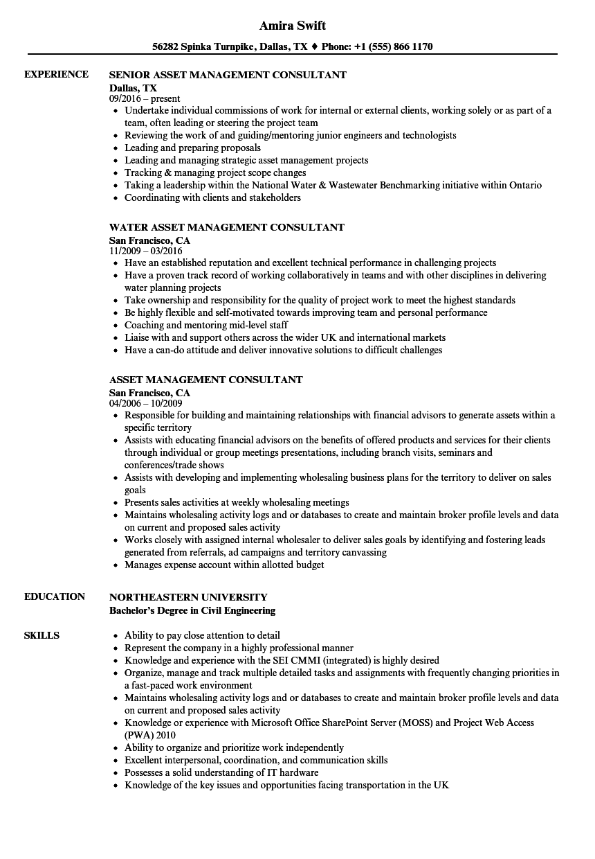 asset management consultant resume samples velvet jobs