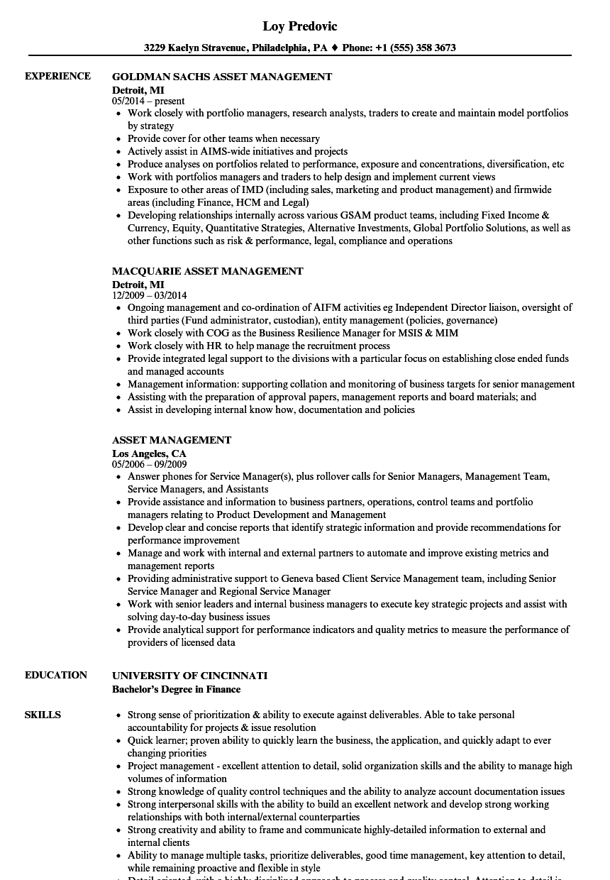 asset management resume samples