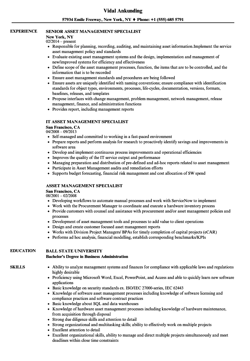 Asset Management Specialist Resume Samples | Velvet Jobs