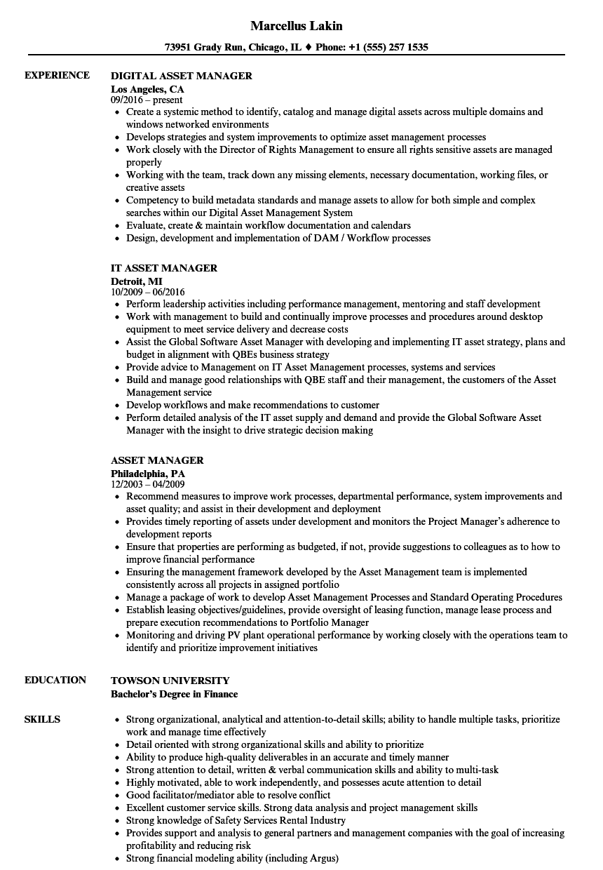 Asset Manager Resume Samples Velvet Jobs