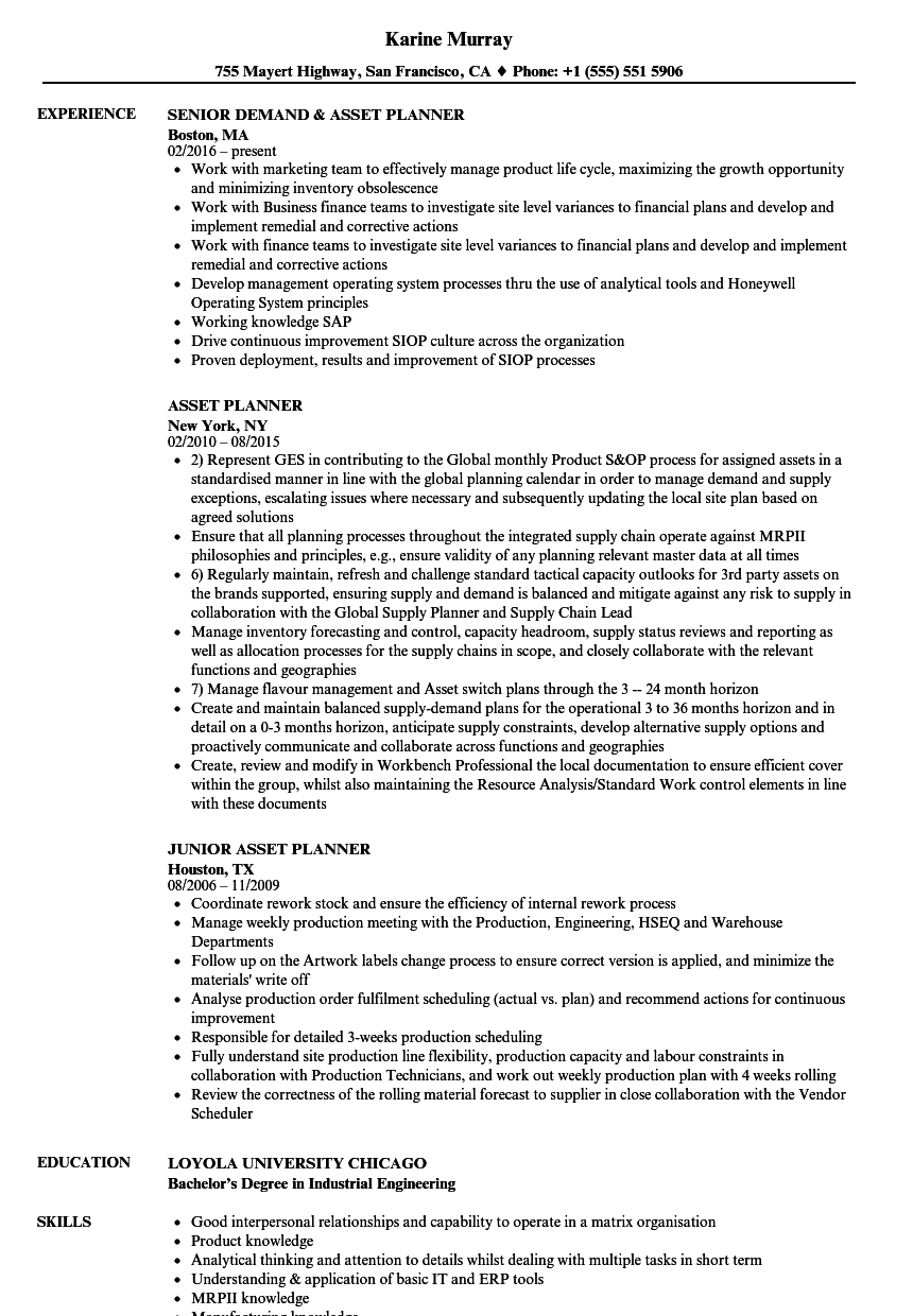 Asset Planner Resume Samples | Velvet Jobs