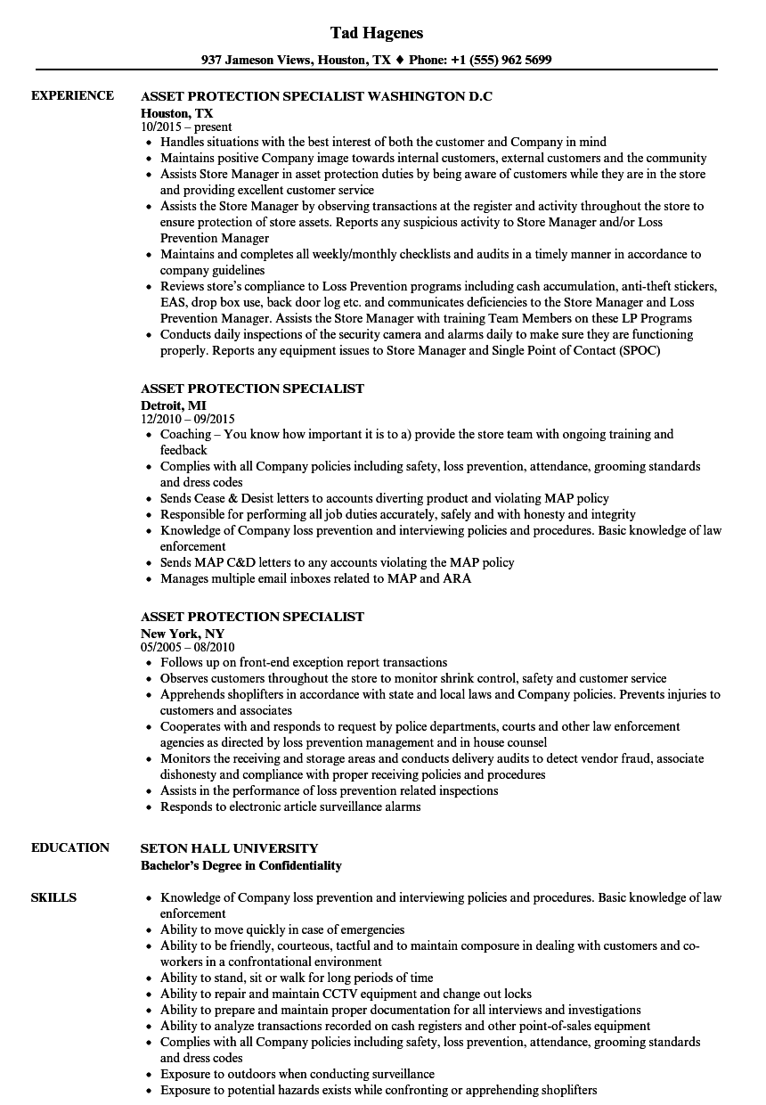 Asset Protection Specialist Resume Samples | Velvet Jobs