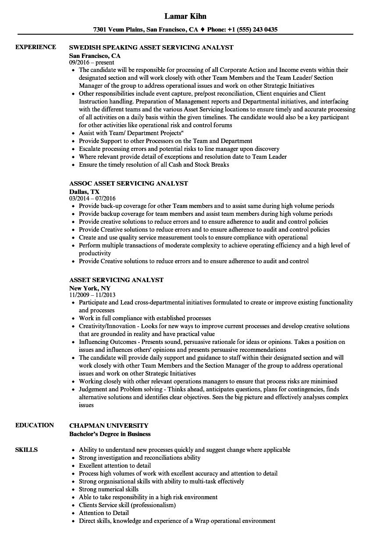 asset servicing analyst resume samples