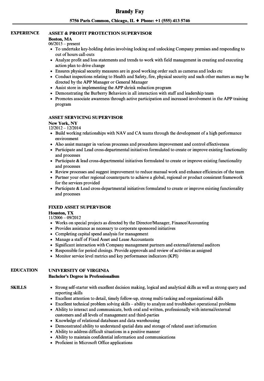 Asset Supervisor Resume Samples | Velvet Jobs