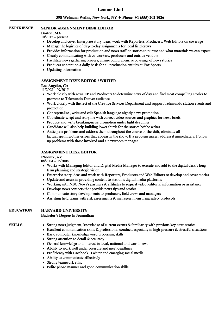 assignment desk editor resume samples