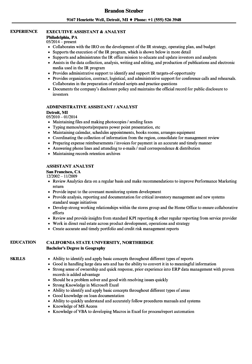 Assistant Analyst Resume Samples | Velvet Jobs