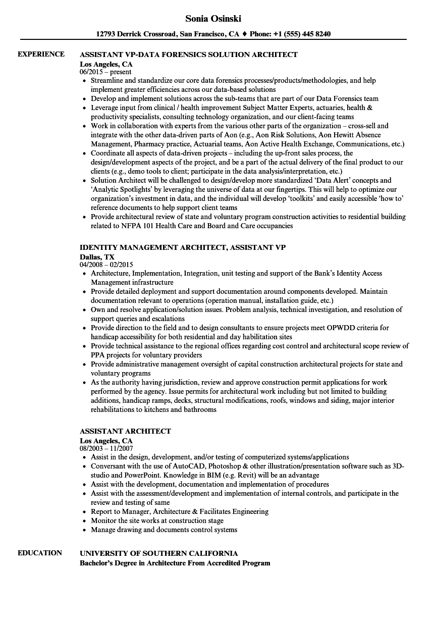 download assistant architect resume sample as image file - Sample Architect Resume