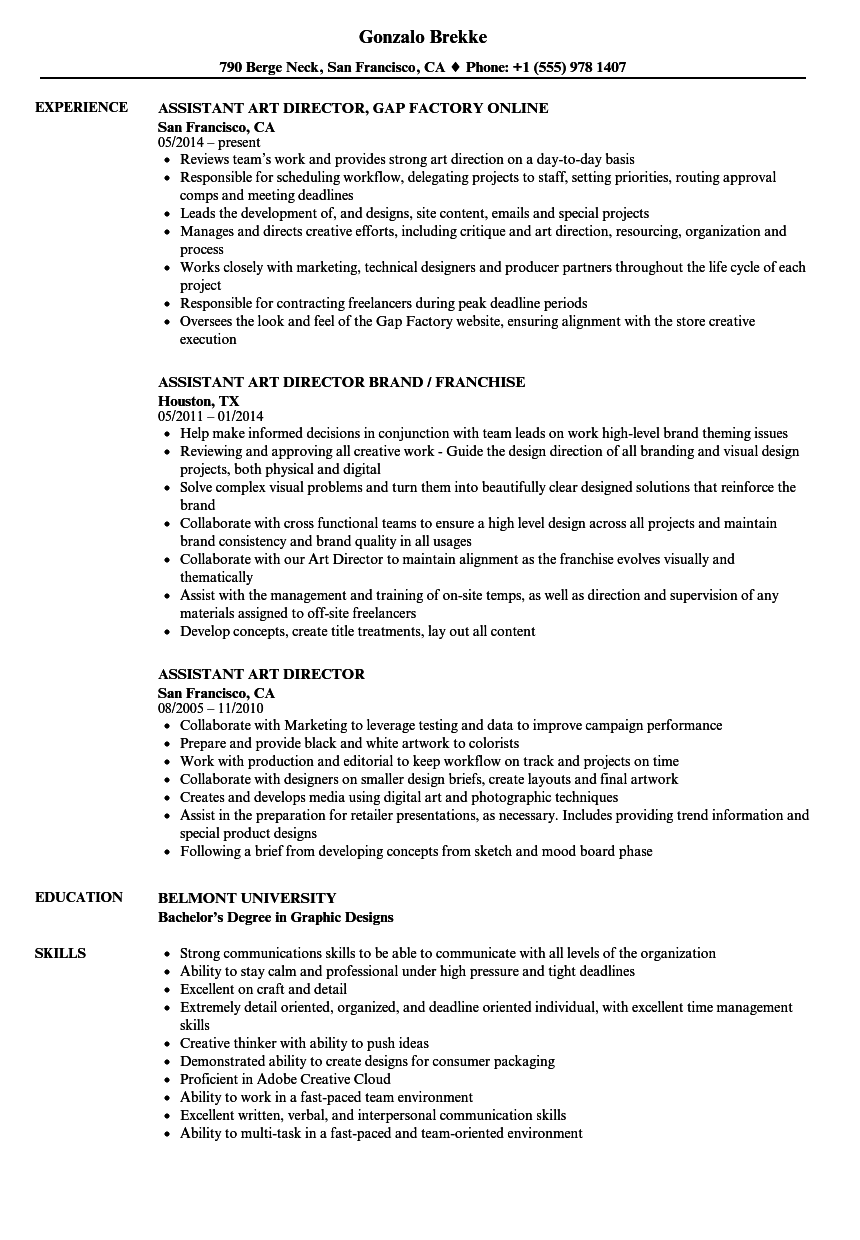 assistant art director resume samples velvet jobs