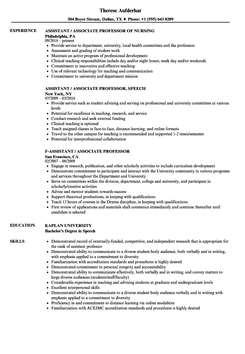 assistant associate professor resume samples velvet jobs