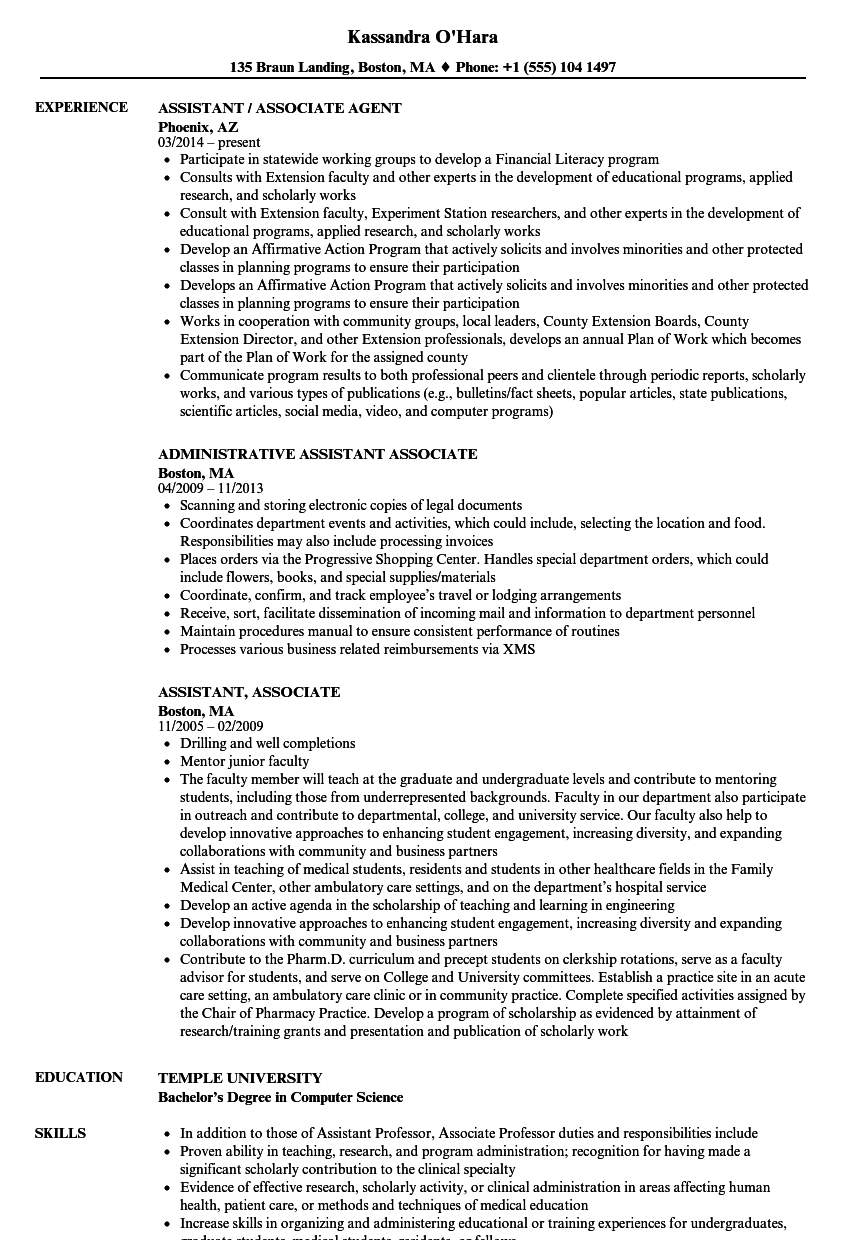 Assistant, Associate Resume Samples | Velvet Jobs